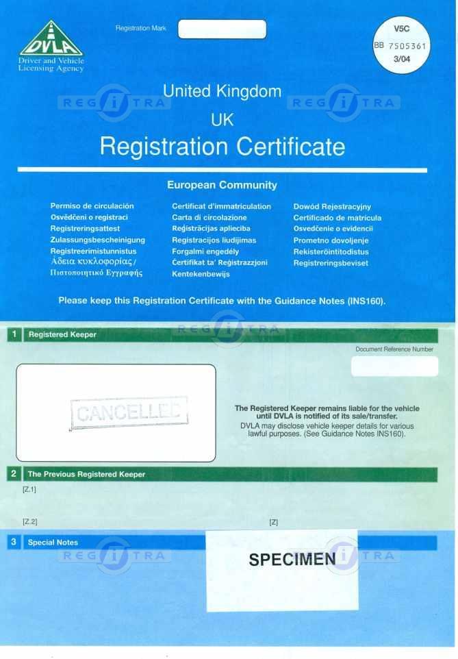 Registration Certificate V5c Registration Certificate V5c
